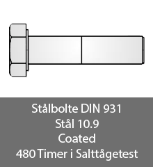 Staalbolte DIN 931 10.9 Coated 480 Timer