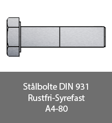 Staalbolte DIN 931 Rustfri syrefast A4-80