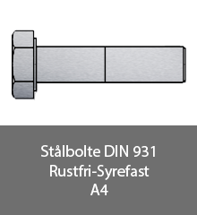 Staalbolte DIN 931 Rustfri syrefast A4